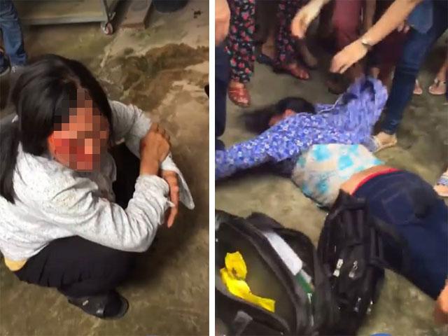Chị Bảy và bà Phúc bị người dân ở Sóc Sơn hành hung vì nghi bắt cóc trẻ con