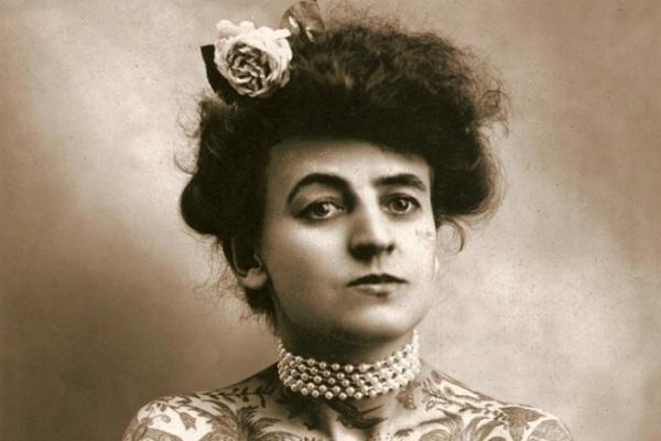 Maud Wagner - Nữ nghệ sĩ xăm mình đầu tiên của làng giải trí Mỹ. Ảnh chụp năm 1907