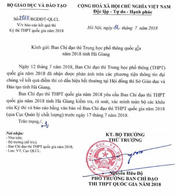 Bộ GD&ĐT yêu cầu rà soát vụ điểm thi 'bất thường' ở Hà Giang