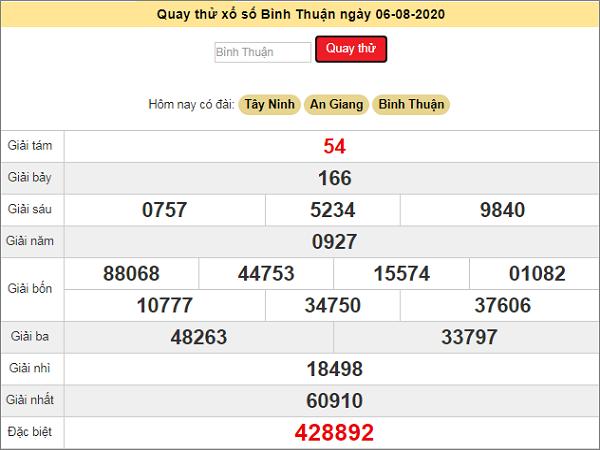 Quay thử xổ số Bình Thuận ngày 6 tháng 8 năm 2020