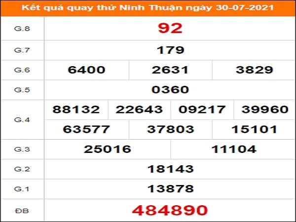 Quay thử Ninh Thuận ngày 30/7/2021 thứ 6